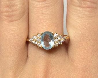 14k Yellow Gold 1.50ct Aquamarine & 0.30ct Diamond Ring Vintage