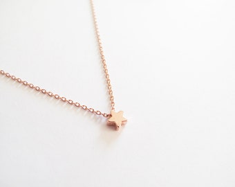 Tiny Rose Gold Star Necklace - Gift for her