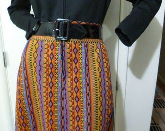 70s Vintage Boho, Hippie Dream Short Dress, CASSEE, Black Long Sleeve, Colorful Skirt, Belted