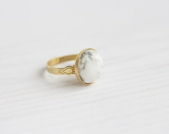 Ethno Marble Brass Ring