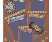 Vintage Carnival Printable Old Fashioned Victorian Circus Posters Blue Red Gold Freak Show Kissing Booth Refreshments Signs Scrapbook Sheets