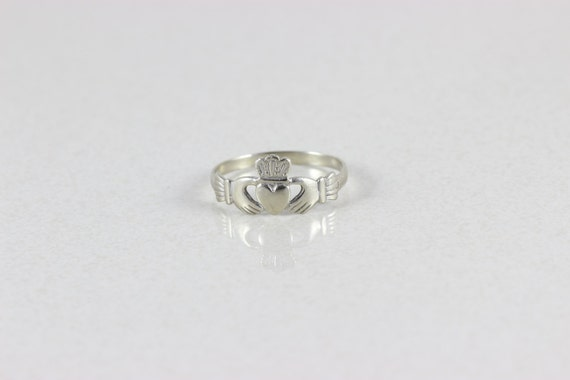 mens 14k white gold claddagh ring size 11 by