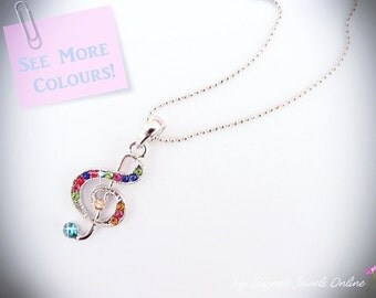 Music Note Necklace, Treble Clef, Colourful Rhinestones, Silver necklace, Music, Other colours too, ,