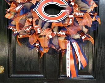 Large Elegant Burlap Chicago Bears Football Wreath Orange Blue Chevron Ribbon