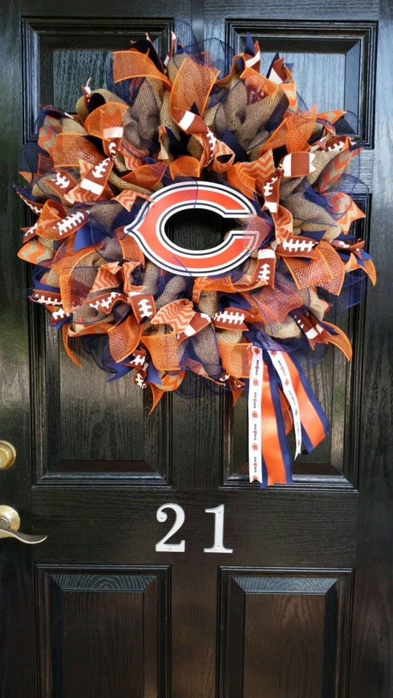 Large Elegant Burlap Chicago Bears NFL Pro Football Wreath Orange Blue Chevron Ribbon