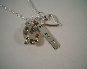 Artist/Art Lover Hand Stamped Silver and Pewter Charm Necklace