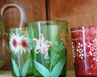 Antique Victorian green glass tumbler, floral hand painted, early 1900s