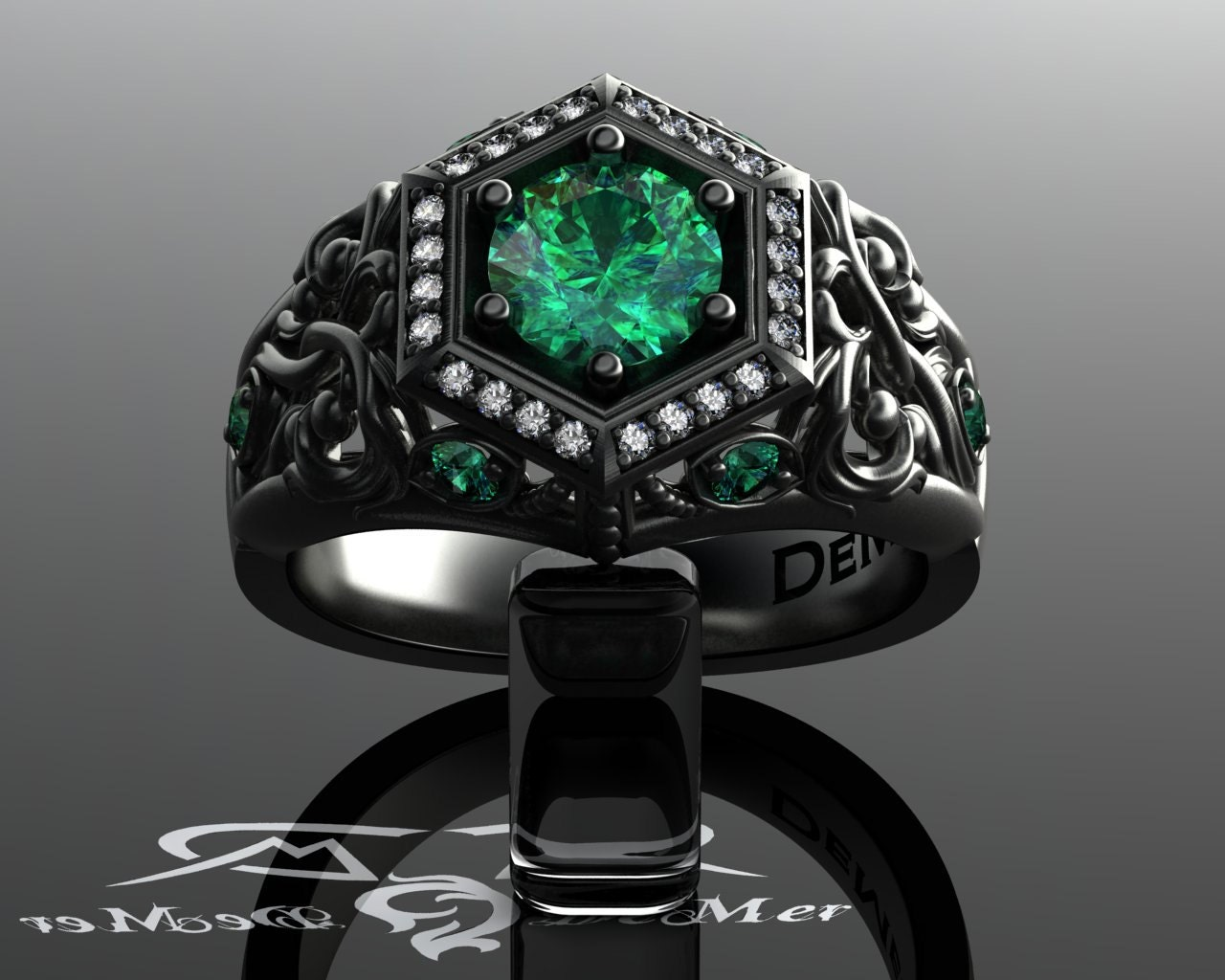 unique emerald engagement ring in black gold deco halo