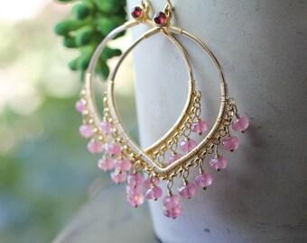 Beaded Pink Sapphire Earrings, Pink Gemstone Large Chandelier Earrings, Lotus Petal Shape, 14k Gold Fill Wire Wrapped Bead Dangle Earrings