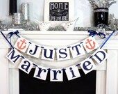 Just Married Banner / Wedding Garland / Getaway Car Sign / Rustic / Wedding Couple Photo Prop/ Wedding Reception Decoration / Backdrop