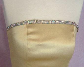Vintage Gold Cache Crystal Dress Sz M Evening dress Prom dress Aurora Borealis crystals