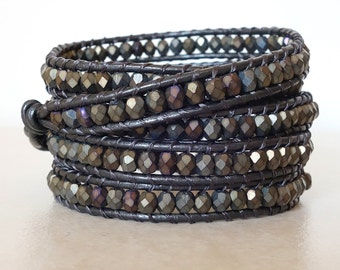 Boho brown wrap bracelet/ leather matte brown iris bracelet/ Bohemian ladder 5 wrap yoga beaded wrapped bracelet