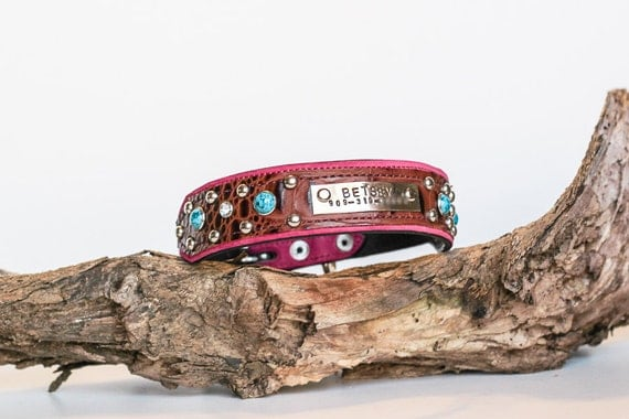 PERSONALIZED Dog Collar Nameplate Pink by