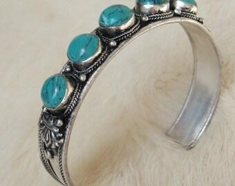 Turquoise Bracelet Turquoise bangle Turquoise jewelry Turquoise gemstone bangle bracelet Tribal Native American Indie Boho Bohemian Gypsy
