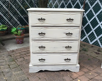 Distressed White 4 Drawers Chest, Repurpose Furniture