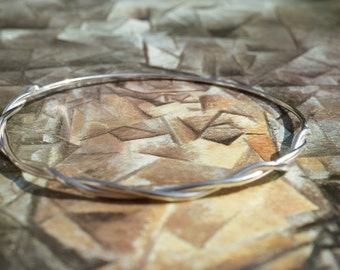Handmade Sterling Silver Bangle Wrapped With Silver Wire, Narrow Bangle