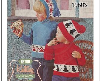Child's Fair Isle Sweater 1960s Vintage Knitting Pattern - PDF Knitting Pattern - Instant Download