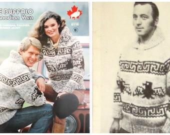 "White Buffalo Wool Cowichan Sweater Eagle Knitting Pattern #16, 6116 Old & New 2- PDFs- plus Bonus ""Design Your Own"" Charts B2G1 Sale"