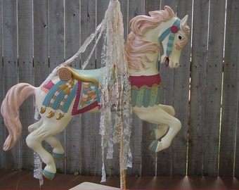 Carousel Horse, Hand Painted, Shabby Chic, Large, Tall, Decorative, Pink, Ivory, Upcycled, Wedding, Nursery, Cottage, Decor