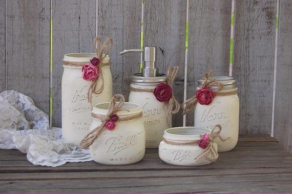 Einmachglas Badezimmer Set Elfenbein Orchidee Rose Shabby Badezimmer Shabby Chic