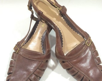 Brown Leather Heeled Sandal Shoes by Naturalizer Ladies Size 7 M