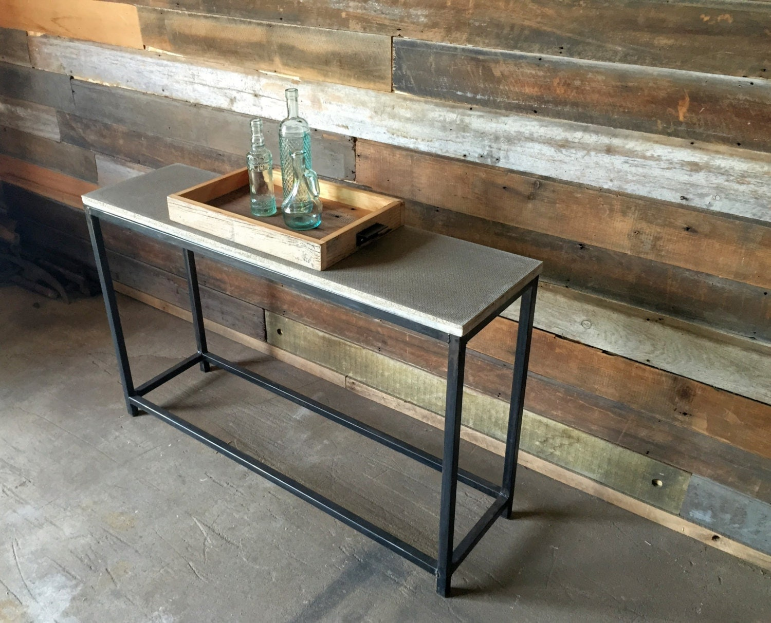 Console Tables With Picture Frames ~ Concrete console table stoic metal frame base