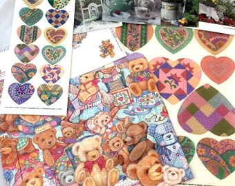 Quilt Teddy Bear Wrapping Paper Set, Gift Wrap, Tea Time Blank Cards, Quilted Heart Window Transfers, Heart Stickers, Sewing Coordinated Set