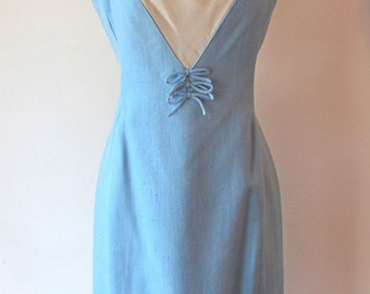 1960s Baby Blue Dress w/ Cowl Neck