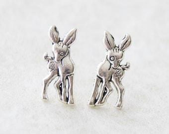 Oh Deer Studs / Oxidized Silver Deer Earrings / Woodland Jewelry / Deer Jewelry / Kawaii Deer Earrings