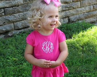Monogrammed Girls Tee  | Toddlers' Ruffle Tee