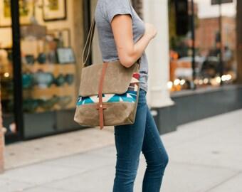 Waxed Canvas Messenger Bag / Pendleton Wool Bag
