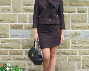 True Vintage 1960s Suit With Short Double Breasted Jacket & Pencil Skirt UK 8-10