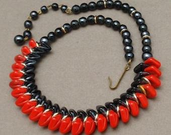 Vintage Necklace Red & Black West Germany
