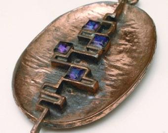 Abstract Modernist Copper Pendant Purple Stones Vintage