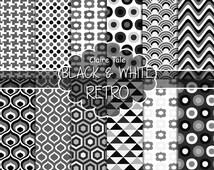 "Retro geometric digital paper: ""BLACK & WHITE RETRO"" with retro geometric patterns, triangles, honeycomb, circles, polka dots, houndstooth"