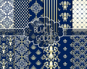"""Damask digital paper: """"BLUE & GOLD DAMASK"""" with gold and blue paper damask backgrounds and classical damask patterns"""