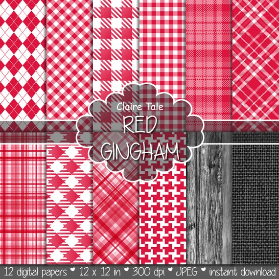 Red gingham digital paper, Picnic red printable paper, Red tartan digital pattern, Gingham red pattern, Red rhombus, linen and wood paper