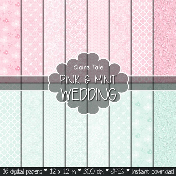 "Wedding digital paper: ""PINK & MINT WEDDING"" with damask, quatrefoil, roses, flowers, lace, hearts patterns / pink mint wedding background"