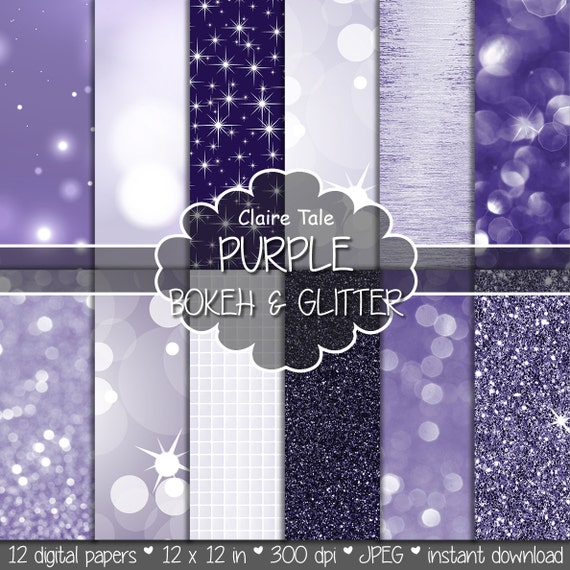 "Purple digital paper: ""PURPLE BOKEH & GLITTER"" with purple glitter background and purple bokeh background for photographers and scrapbooking"