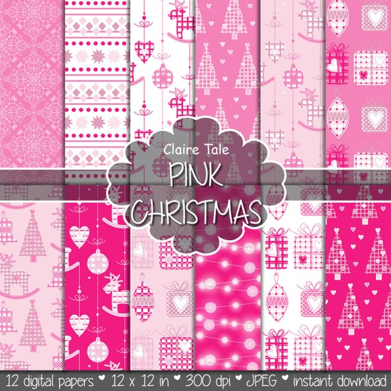 "Christmas digital paper: ""PINK CHRISTMAS"" christmas backgrounds with deers, snowflakes, christmas trees, lights, gifts, balls, damask"