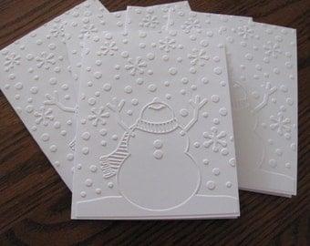 Snowman Christmas Cards, Boxed Christmas Card Set, Embossed Card Set, Holiday Cards, Snowman, Holiday Card Set, Christmas Card Sets, White