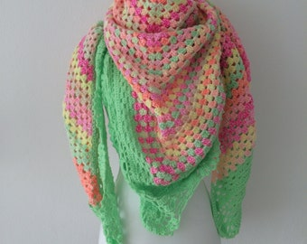 crochet colorful shawl, handmade shawl