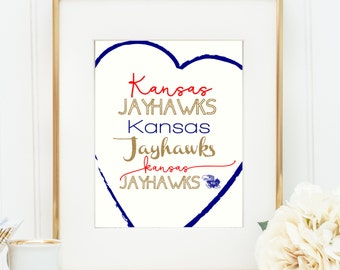Kansas Jayhawks print- University of Kansas- 8x10- instant download