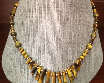 19 inch Tigereye and Copper Beaded Fan Necklace