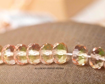 20 Jonquill Pink 7mm Faceted Rondell Czech Glass Beads (SB105)