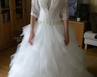 Princess Wedding Dress tulle beading train custom made