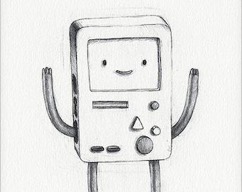 "BMO - 5 x 7"" print (adventure time drawing, art, artwork, cartoon, decor, beep boop!)"