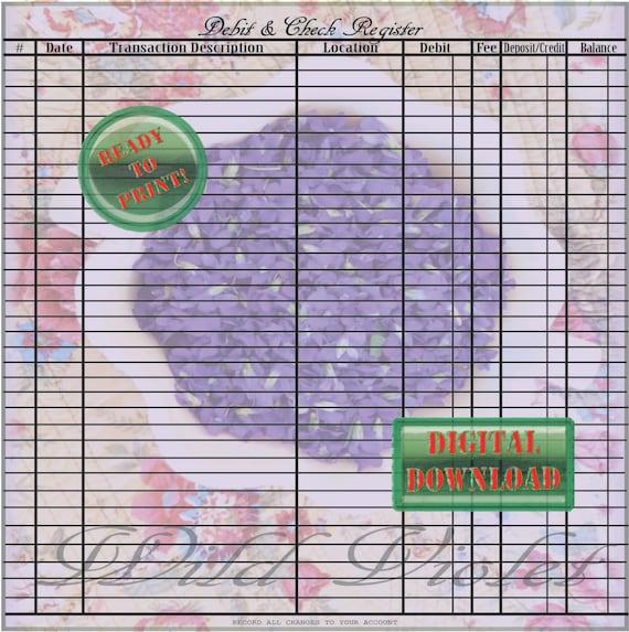 violets check register printable sheets diy purple flowers