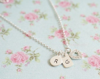 Mothers Day Gift Idea for Her, Personalised Heart Charm Necklace, Monogram Necklace, Sterling Silver Initial Necklace, Childrens Initial