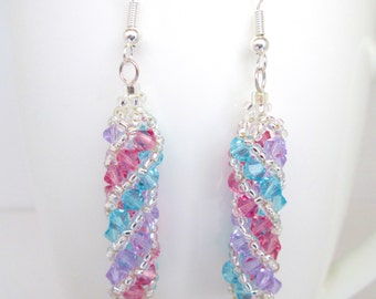 Lilac pink turquoise and silver spiral swarovski elements earrings, candy twist earrings,